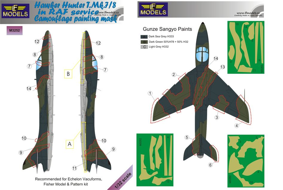 Hawker Hunter T.Mk.7/8 in RAF service Camouflage Painting Mask - Click Image to Close