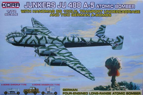 Junkers Ju-488A-5 atomic bomber with 2 German A-bombs and troley