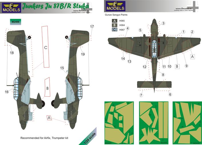 Junker Ju 87B/R Camouflage painting mask
