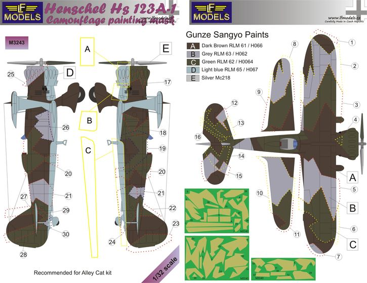 Henschel Hs 123A-1 Camouflage Painting Mask
