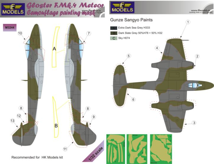 Gloster Meteror F.Mk.4 Camouflage Painting Mask
