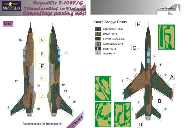 Republic F-105F/G Thunderchief Camouflage Painting Mask - Click Image to Close