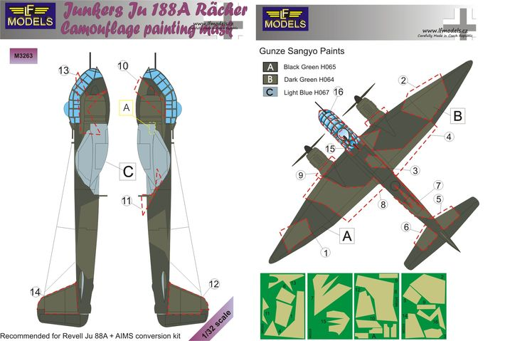 Junkers Ju 188A Racher Camouflage Painting Mask