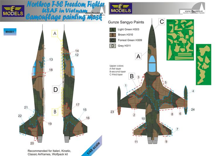 Northtrop F-5C FreedomFighter USAF in Vietnam Camo Painting Mask