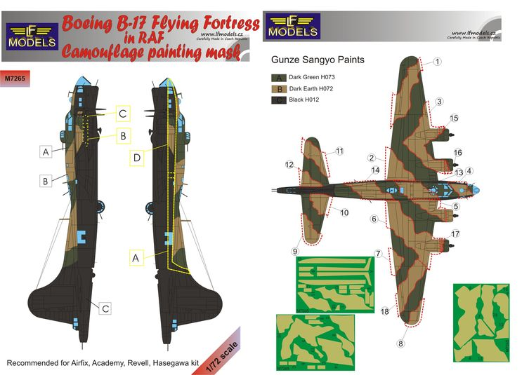 Boeing B-17 RAF Camouflage Painting Mask