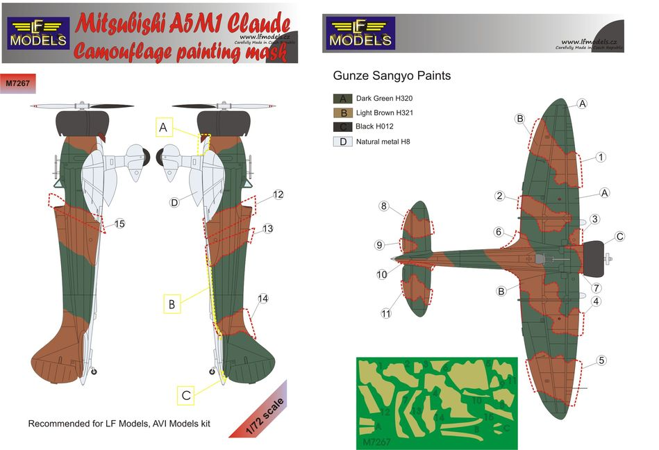 Mitsubishi A5M1 Claude Camouflage Painting Mask