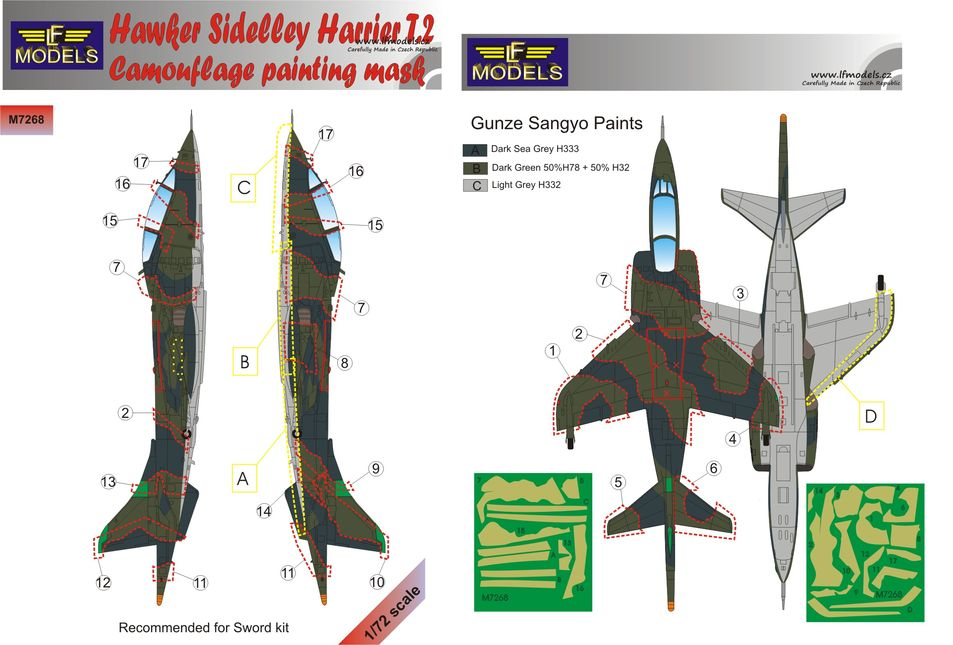 Hawker Siddeley Harrier T.2 Camouflage Painting Mask
