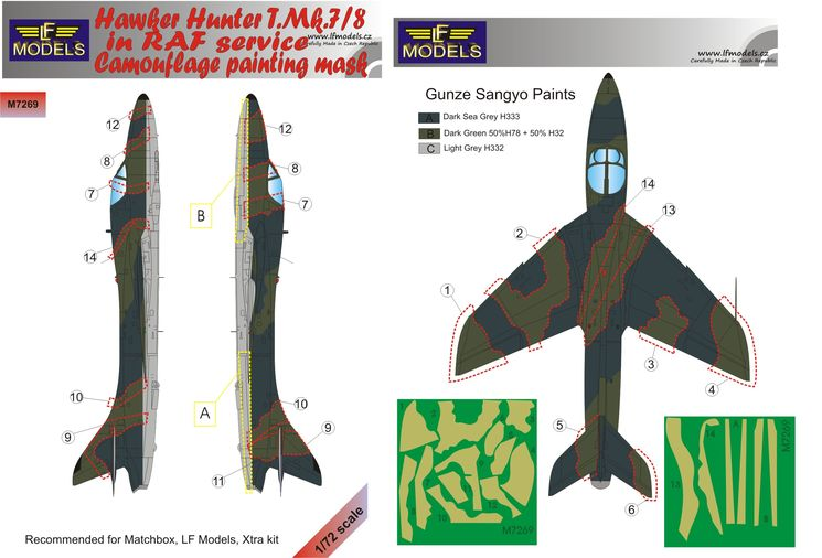 Hawker Hunter T.Mk.7/8 in RAF service Camouflage Painting Mask