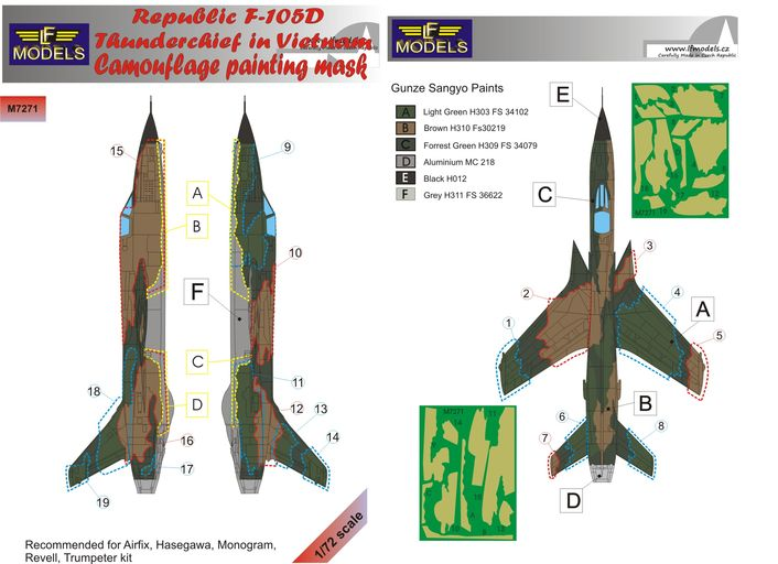 Republic F-105D Thunderchief Camouflage Painting Mask