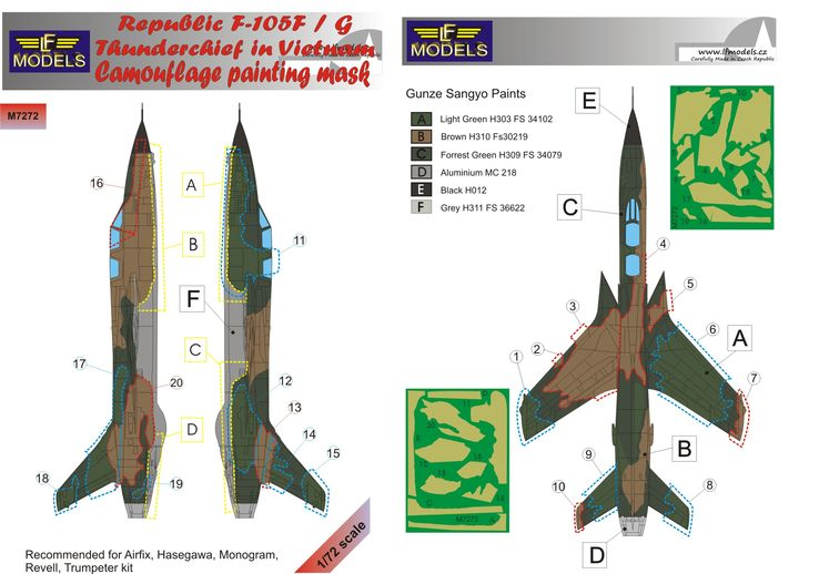 Republic F-105F/G Thunderchief Camouflage Painting Mask