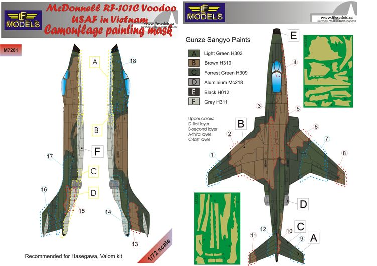 McDonnell RF-101C Voodoo USAF in Vietnam Camo Painting Mask