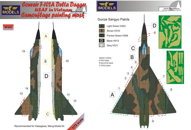 Convair F-102A Delta Dagger USAF in Vietnam Camo Painting Mask