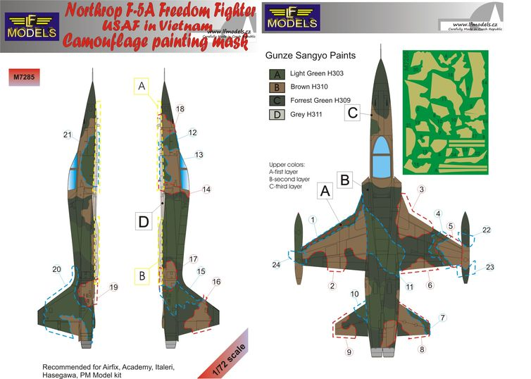 Northtrop F-5A FreedomFighter USAF in Vietnam Camo Painting Mask
