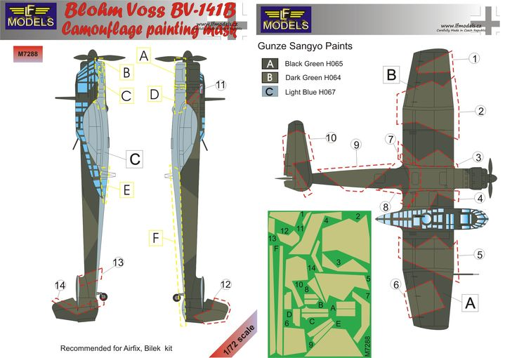 Blohm Voss BV 141B Camouflage Painting Mask