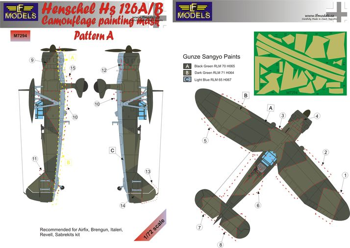 Henschel Hs 126A/B Pattern A Camouflage Painting Mask