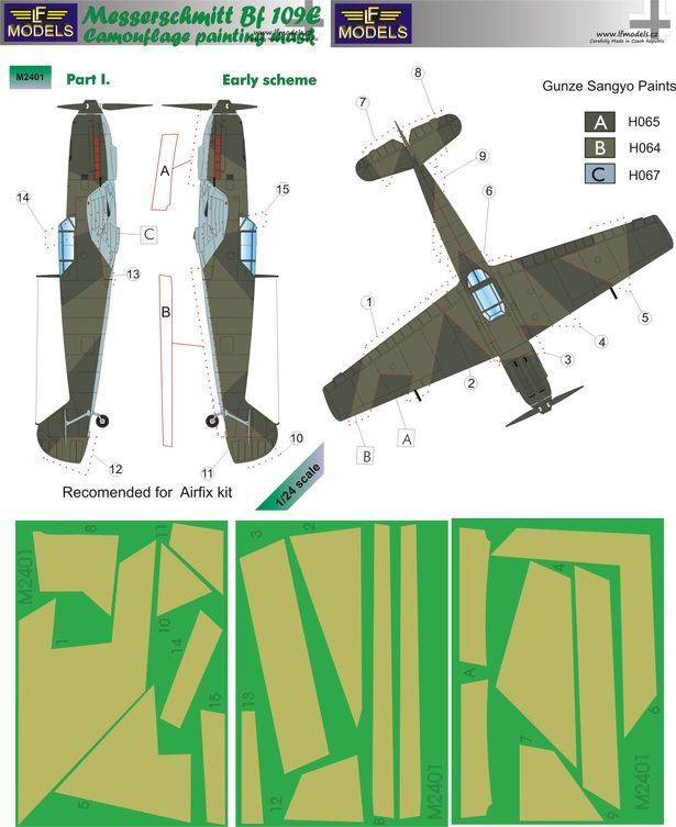 Messerschmitt Bf 109E Early part I. Camouflage Painting Mask