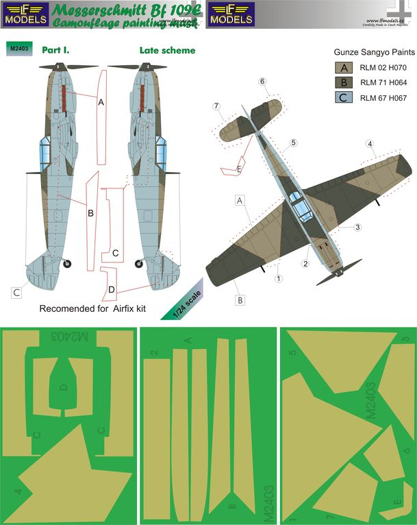 Messerschmitt Bf 109E Late part I. Camouflage Painting Mask