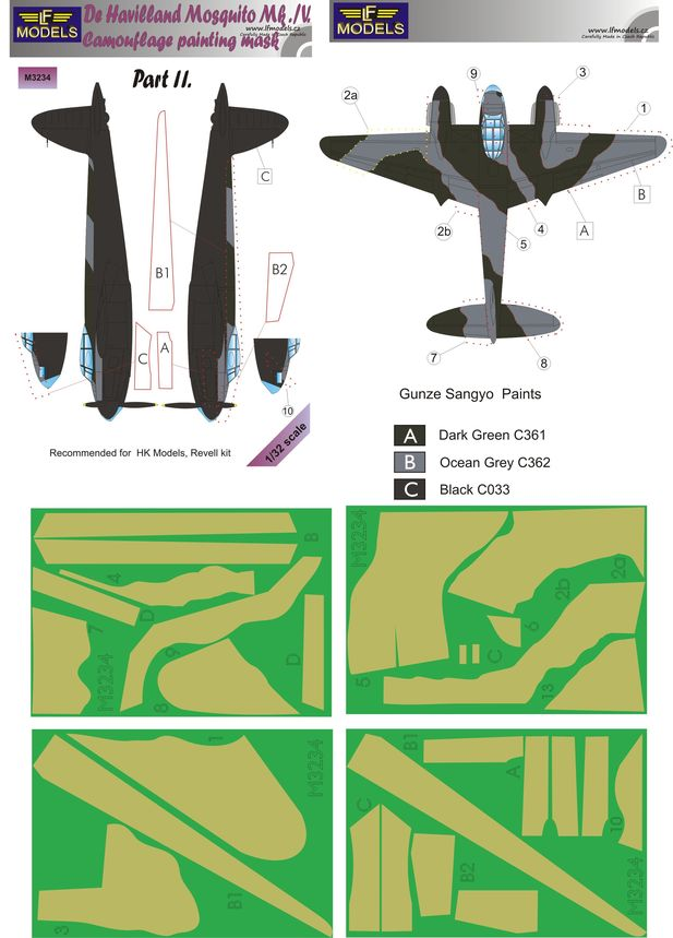 De Havilland Mosquito Mk.IV Camouflage Painting Masks Part II