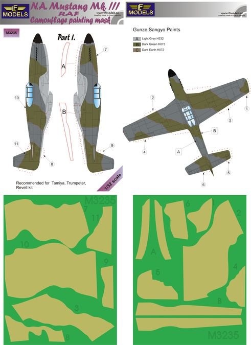 N.A. Mustang Mk.III RAF Part I Camouflage Painting Mask