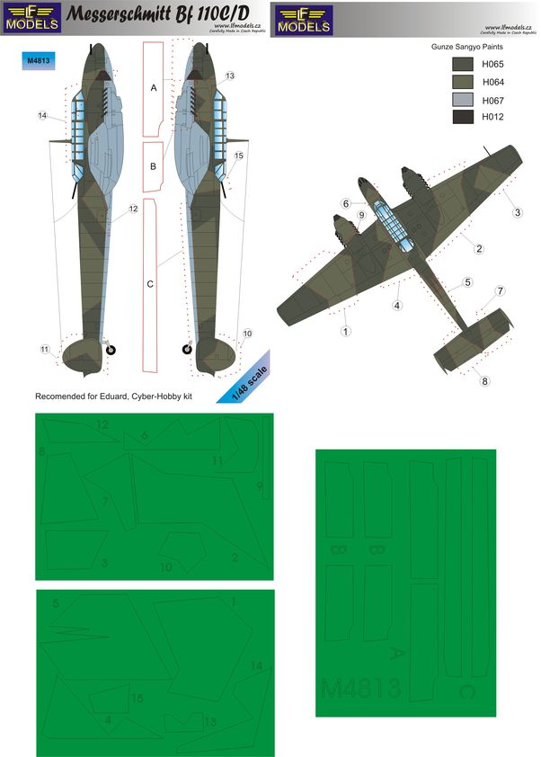 Messerschmitt Bf 110C/D Camouflage Painting Mask - Click Image to Close