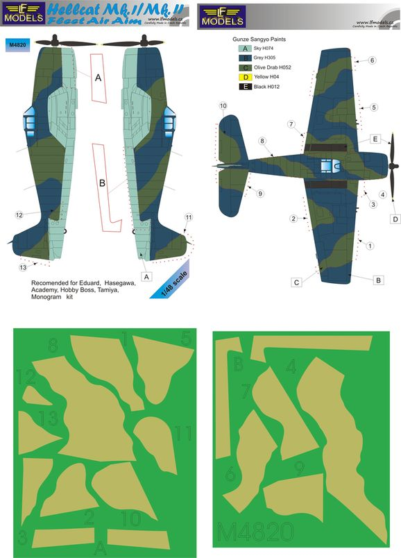 Hellcat Mk.I / II. Fleet Air Aim Camouflage Painting Mask