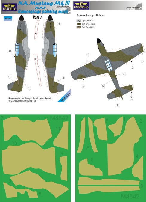 N.A. Mustang Mk.III RAF Part I Camouflage Painting Masks
