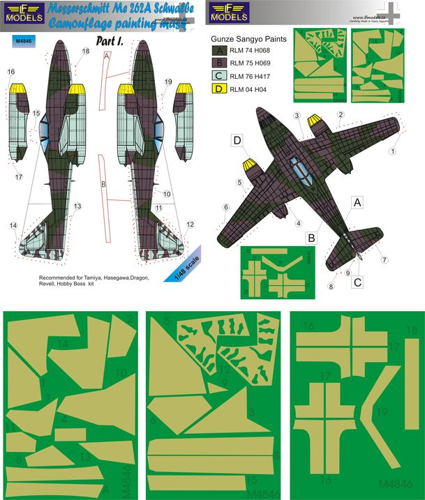 Messerschmitt Me 262A Schwalbe Camouflage Painting Mask Part I.