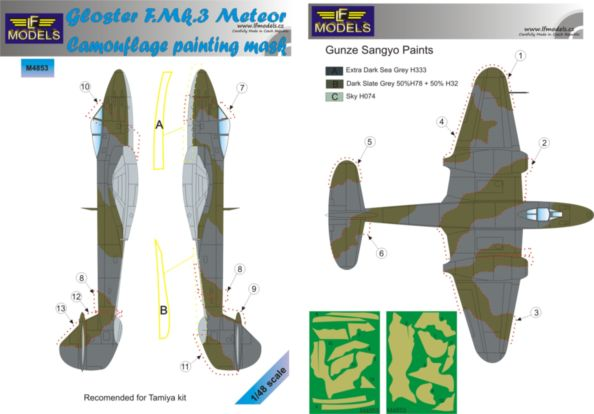 Gloster Meteror F.Mk.3 Camouflage Painting Mask