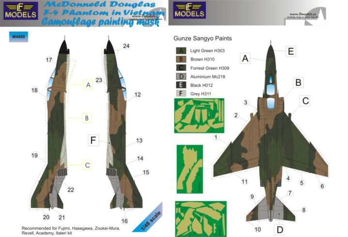 McDonnell Douglas F-4 USAF in Vietnam Camouflage Painting Mask