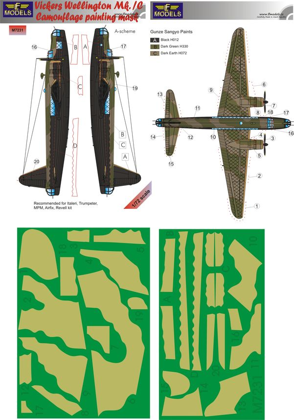 Vicker Wellington Mk.IC A-scheme Camouflage Painting Mask