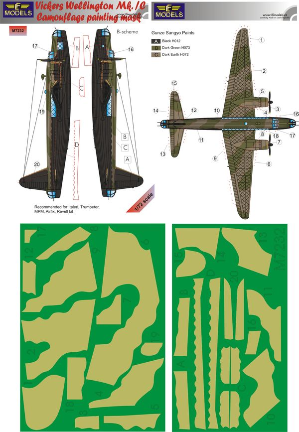 Vicker Wellington Mk.IC B-scheme Camouflage Painting Mask