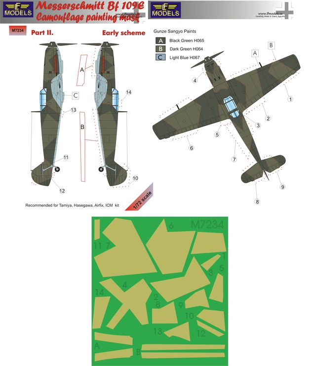 Messerschmitt Bf 109E Early part II. Camouflage Painting Mask
