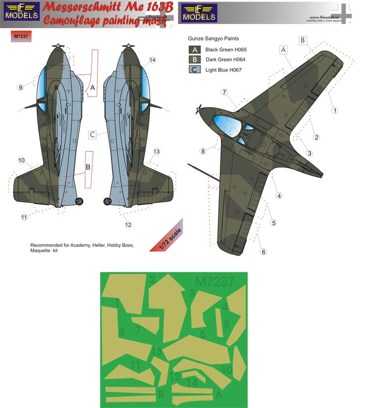Messerschmitt Bf 163B Komet Camouflage Painting Mask - Click Image to Close