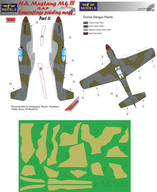 N.A. Mustang Mk.III RAF Part II Camouflage Painting Mask