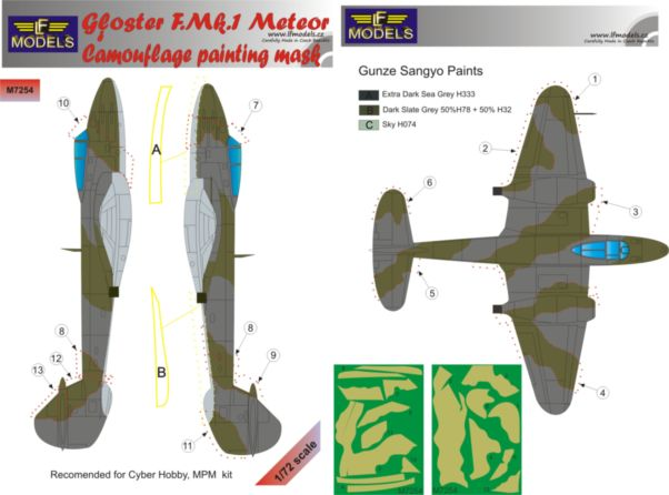 Gloster Meteror F.Mk.I Camouflage Painting Mask