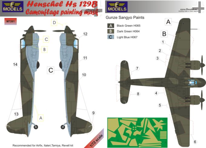 Henschel Hs 129B Camouflage Painting Mask